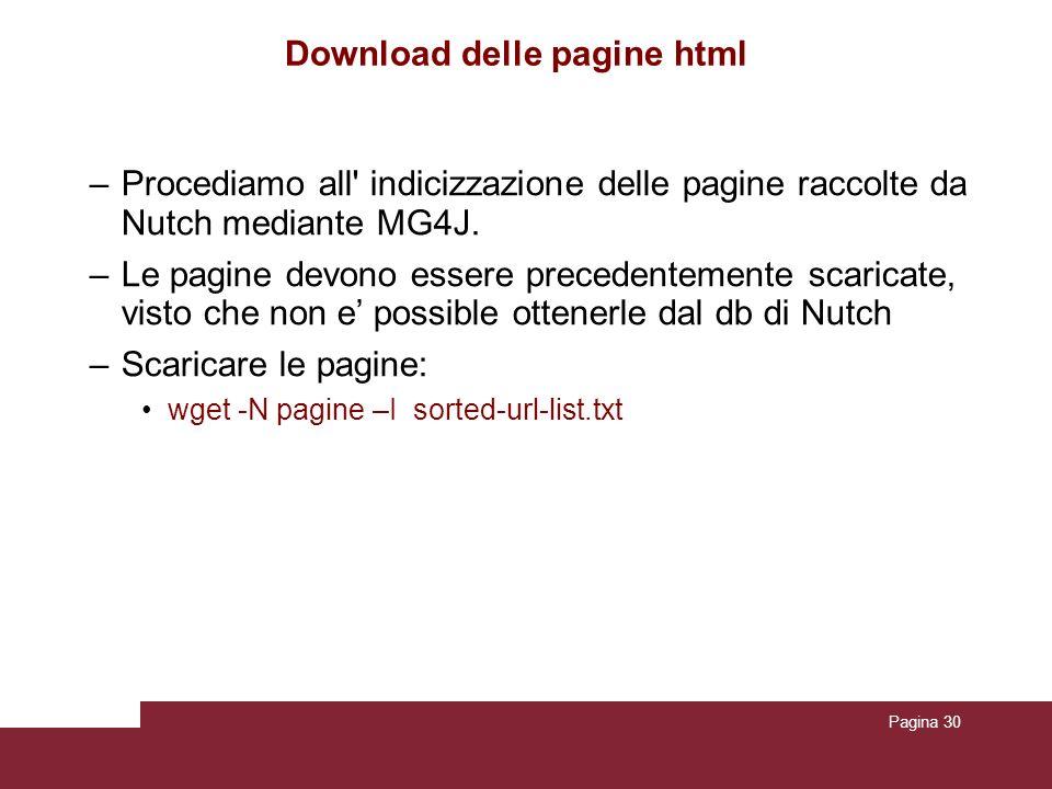 Download delle pagine html