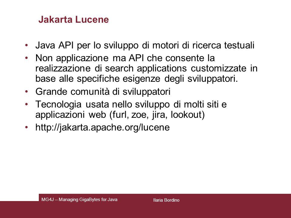 Java API per lo sviluppo di motori di ricerca testuali