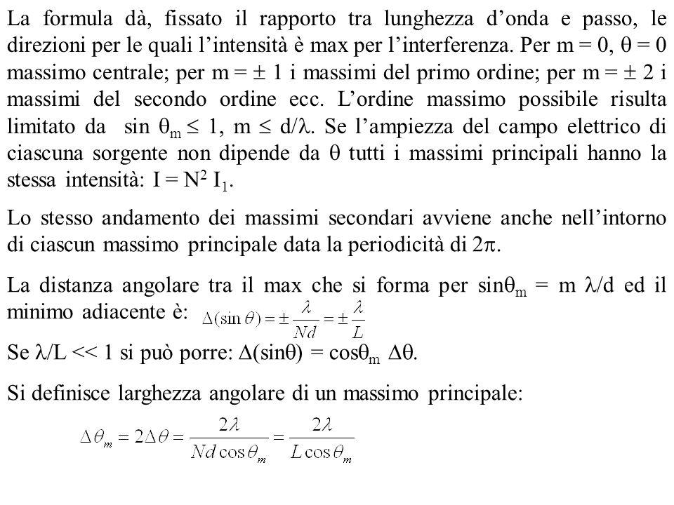 La formula dà, fissato il rapporto tra lunghezza d'onda e passo, le direzioni per le quali l'intensità è max per l'interferenza. Per m = 0,  = 0 massimo centrale; per m =  1 i massimi del primo ordine; per m =  2 i massimi del secondo ordine ecc. L'ordine massimo possibile risulta limitato da sin m  1, m  d/. Se l'ampiezza del campo elettrico di ciascuna sorgente non dipende da  tutti i massimi principali hanno la stessa intensità: I = N2 I1.