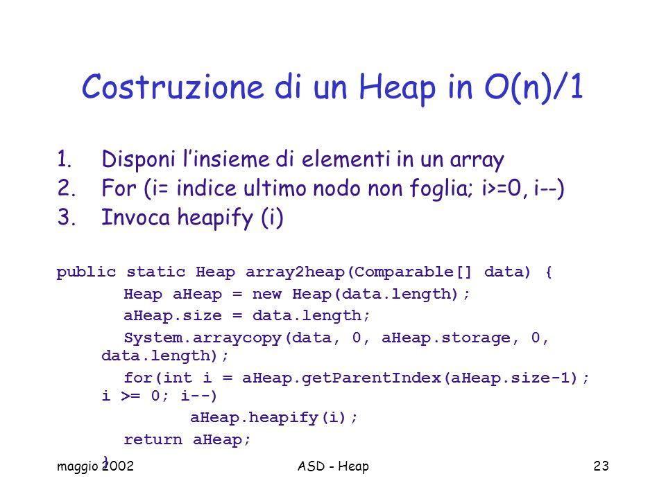 Costruzione di un Heap in O(n)/1