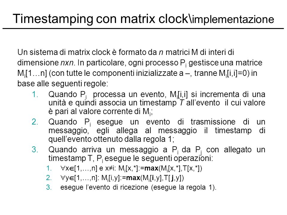 Timestamping con matrix clock\implementazione