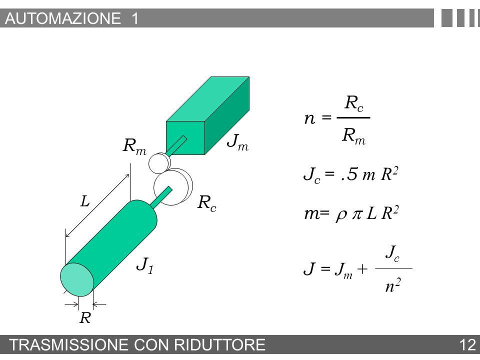 Rc n = Rm Jm Rm Jc = .5 m R2 Rc m= r p L R2 Jc J1 J = Jm + n2
