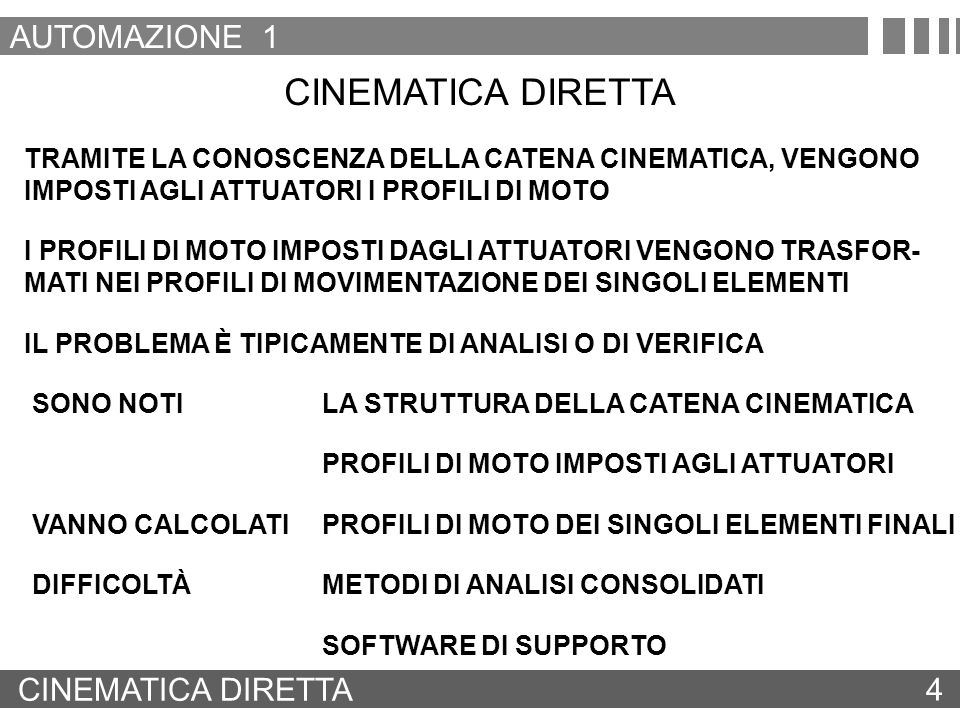 CINEMATICA DIRETTA AUTOMAZIONE 1 CINEMATICA DIRETTA 4