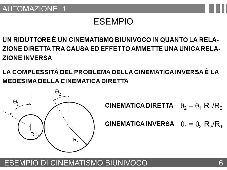 ESEMPIO AUTOMAZIONE 1 q2 q1 q2 = q1 R1/R2 q1 = q2 R2/R1