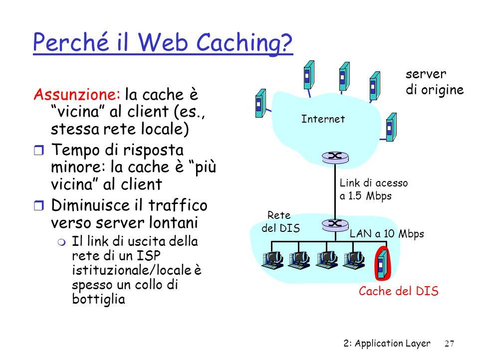 Perché il Web Caching server. di origine. Assunzione: la cache è vicina al client (es., stessa rete locale)