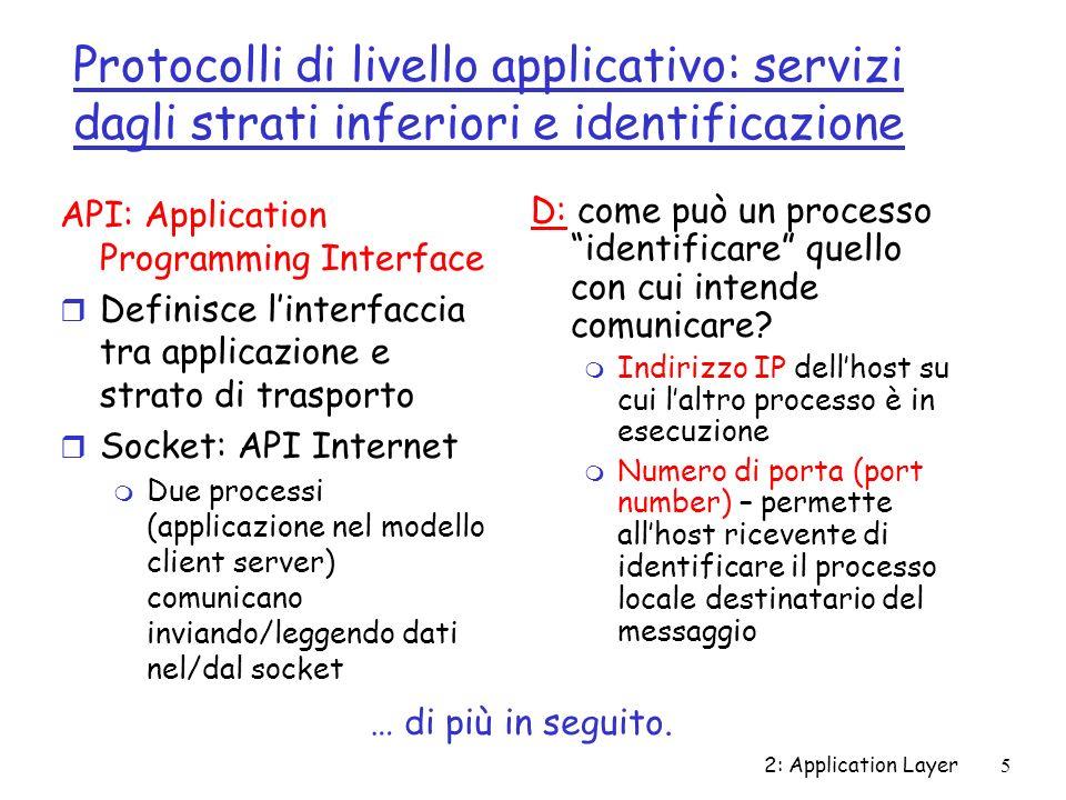Protocolli di livello applicativo: servizi dagli strati inferiori e identificazione
