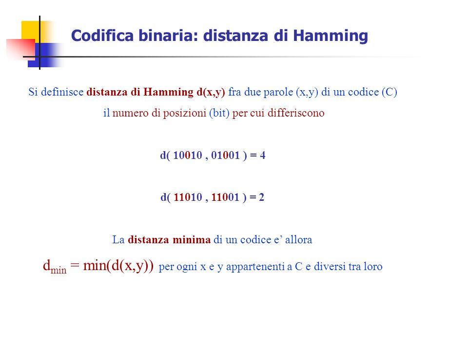 Codifica binaria: distanza di Hamming
