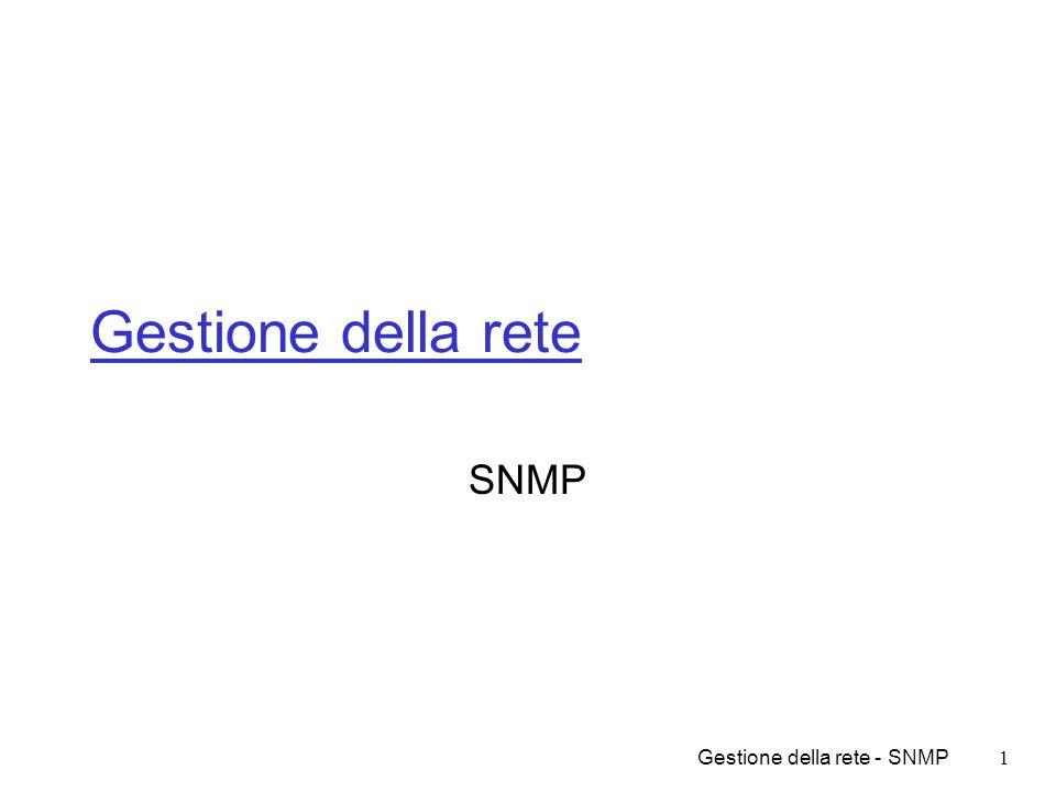 Gestione della rete SNMP Gestione della rete - SNMP