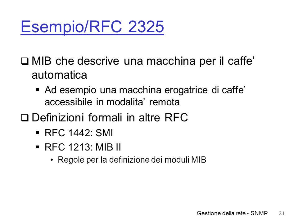 Esempio/RFC 2325 MIB che descrive una macchina per il caffe' automatica.