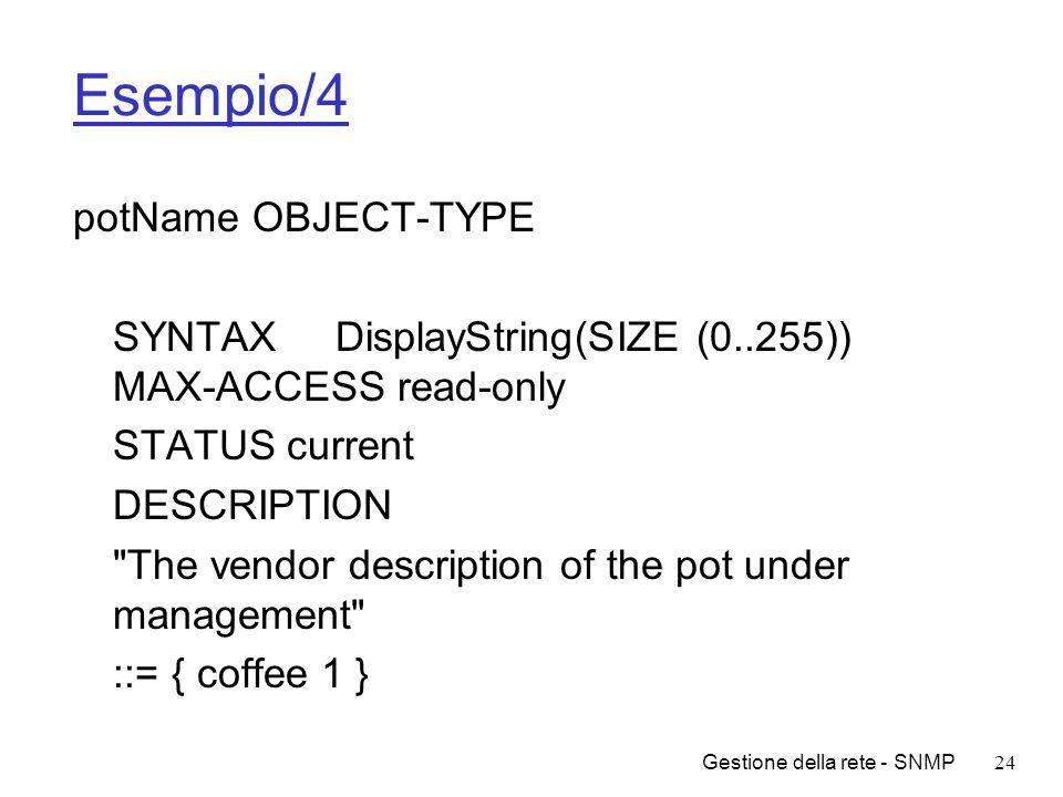 Esempio/4 potName OBJECT-TYPE