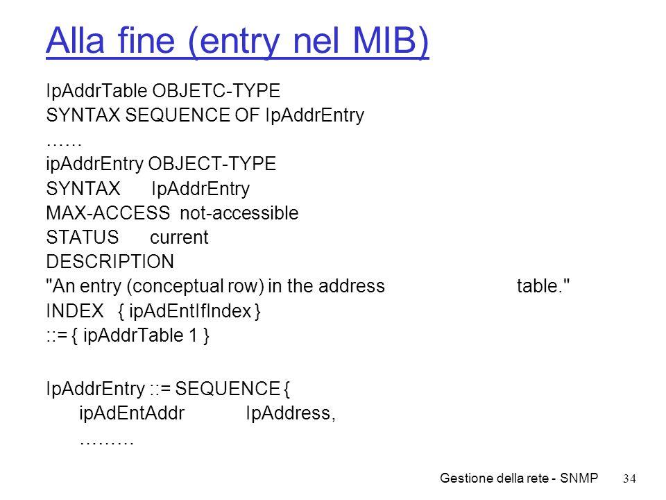 Alla fine (entry nel MIB)