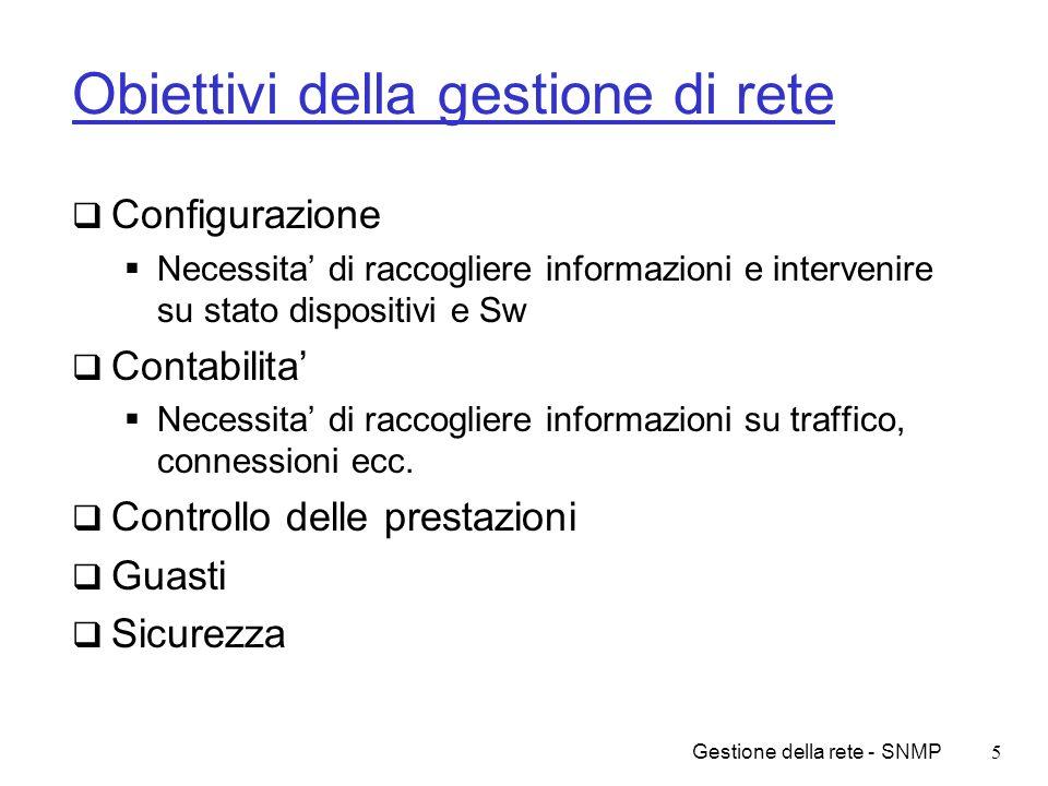 Obiettivi della gestione di rete