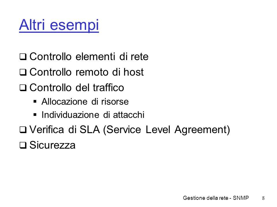Altri esempi Controllo elementi di rete Controllo remoto di host