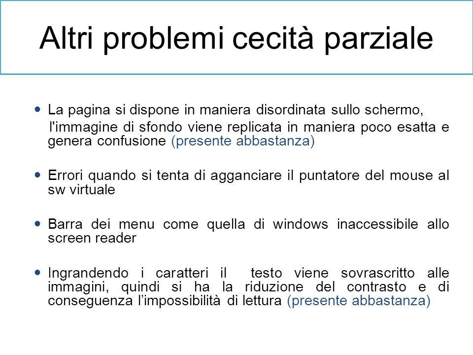 Altri problemi cecità parziale