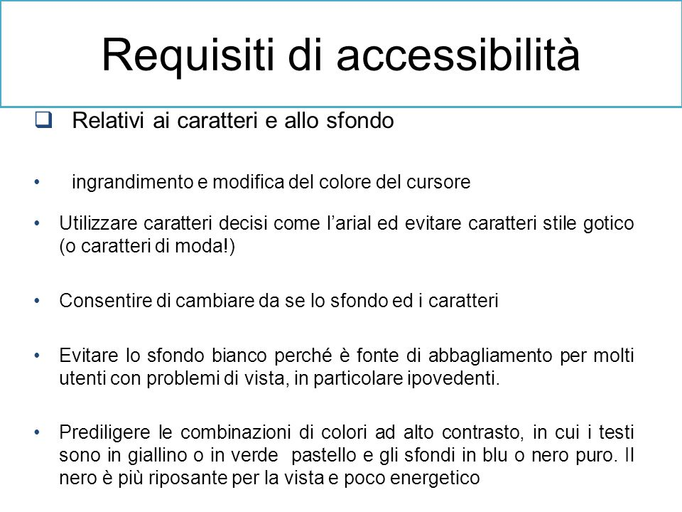 Requisiti di accessibilità