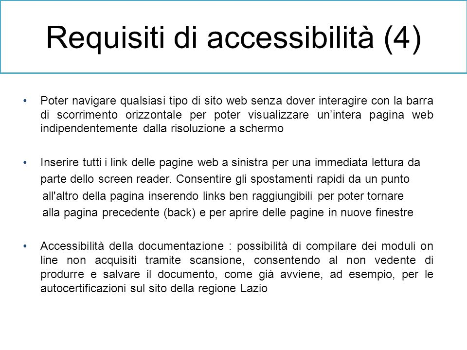 Requisiti di accessibilità (4)