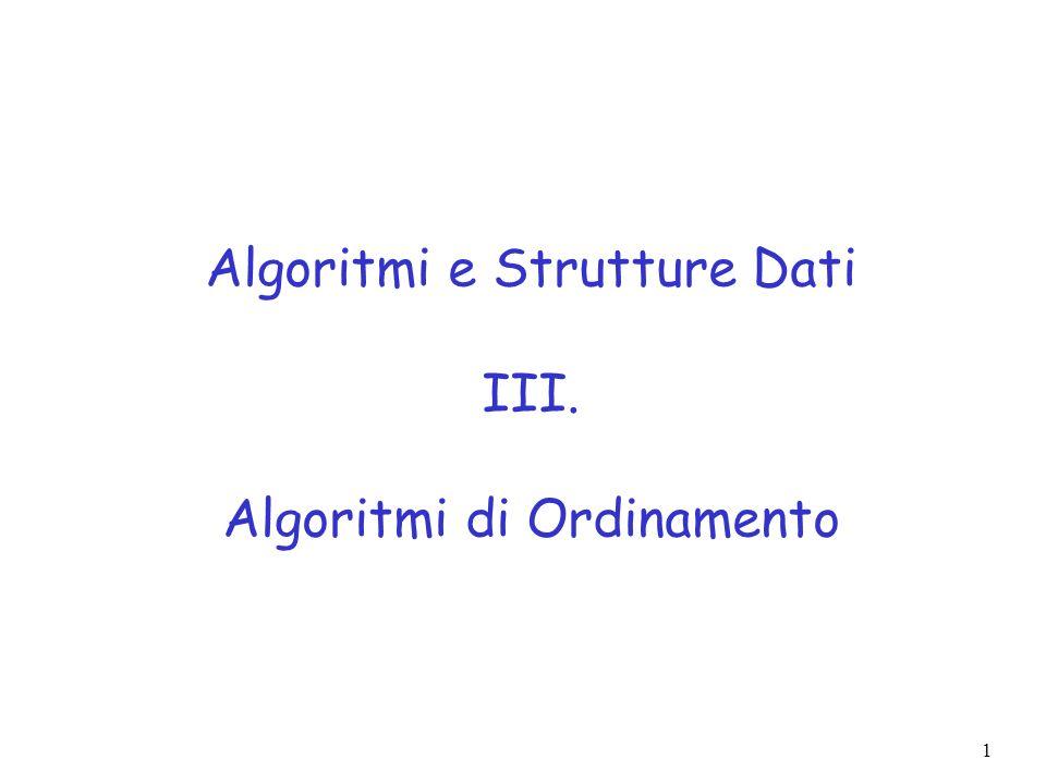 Algoritmi e Strutture Dati III. Algoritmi di Ordinamento