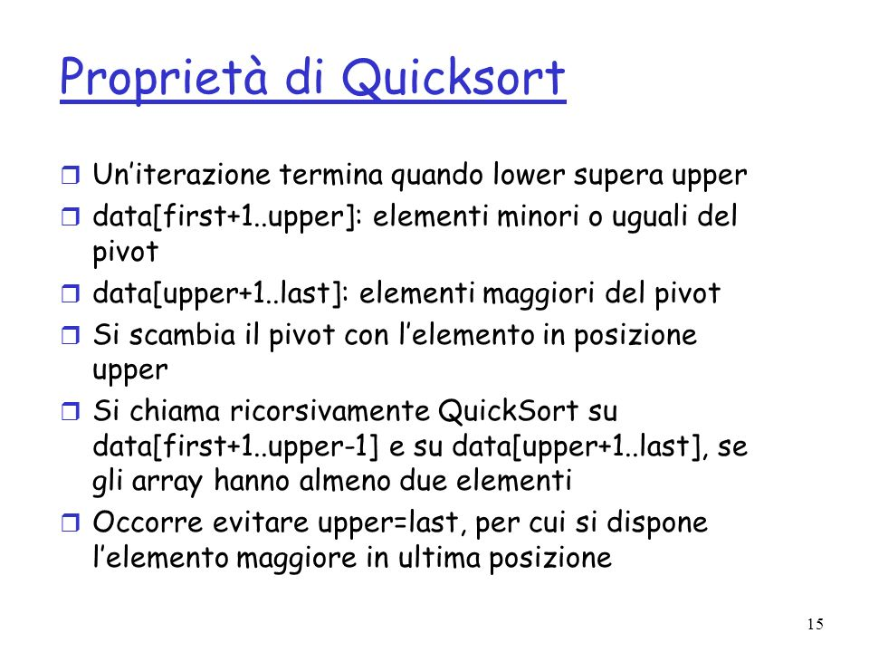 Proprietà di Quicksort