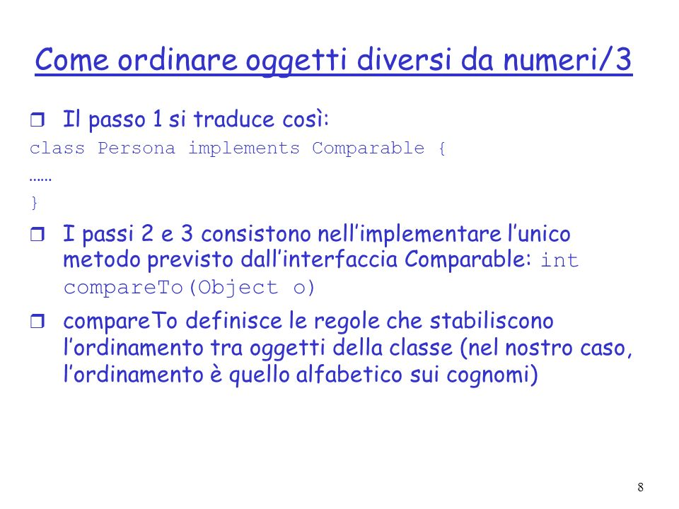Come ordinare oggetti diversi da numeri/3