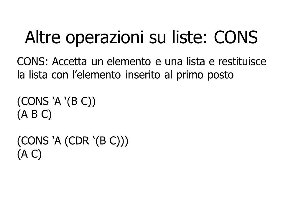 Altre operazioni su liste: CONS