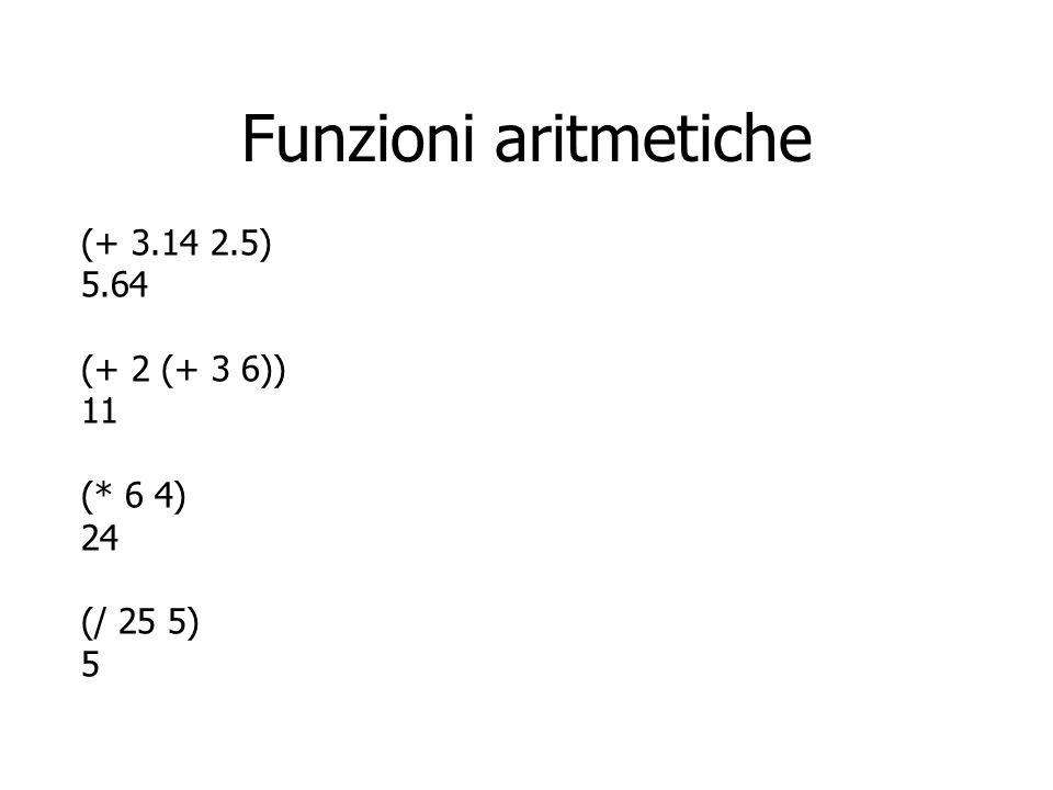 Funzioni aritmetiche (+ 3.14 2.5) 5.64 (+ 2 (+ 3 6)) 11 (* 6 4) 24