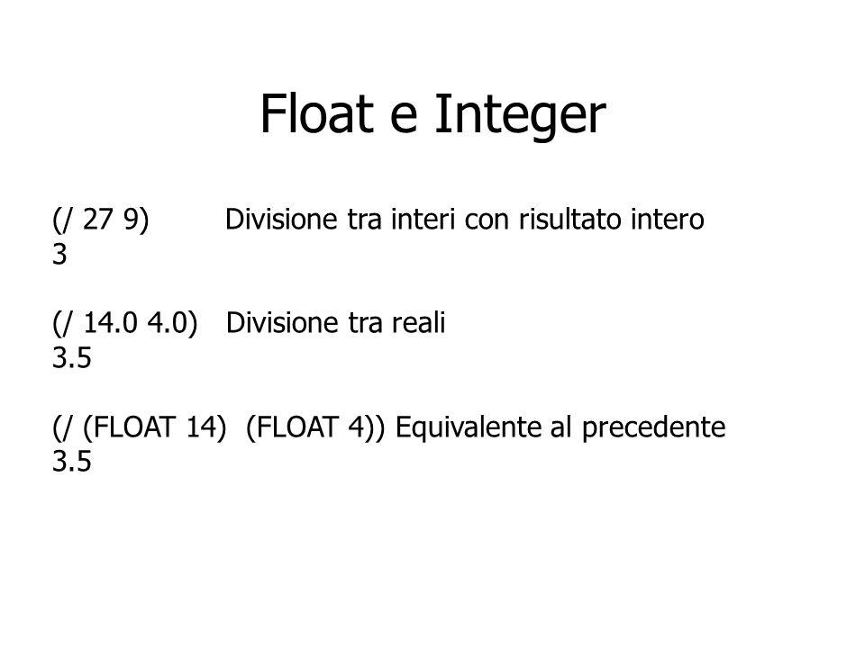 Float e Integer (/ 27 9) Divisione tra interi con risultato intero 3