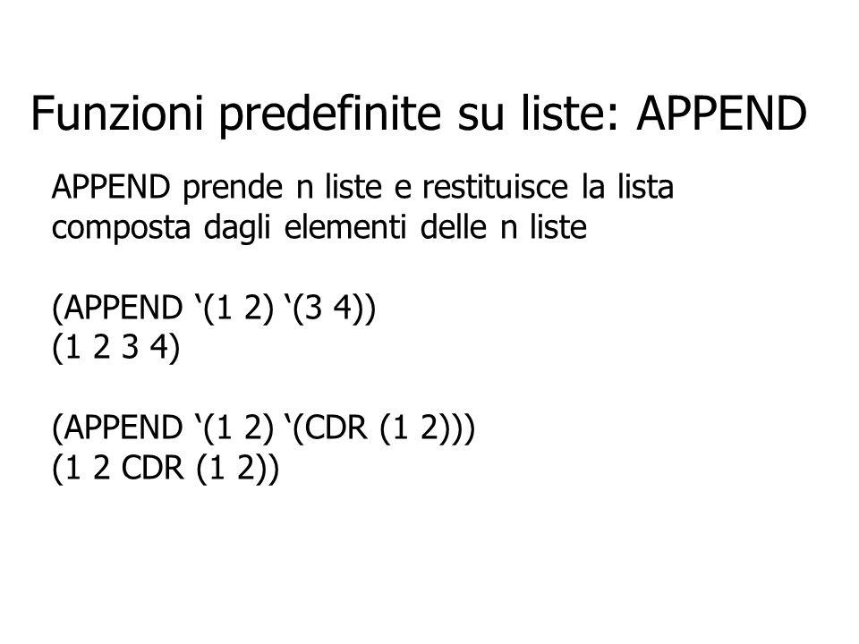 Funzioni predefinite su liste: APPEND