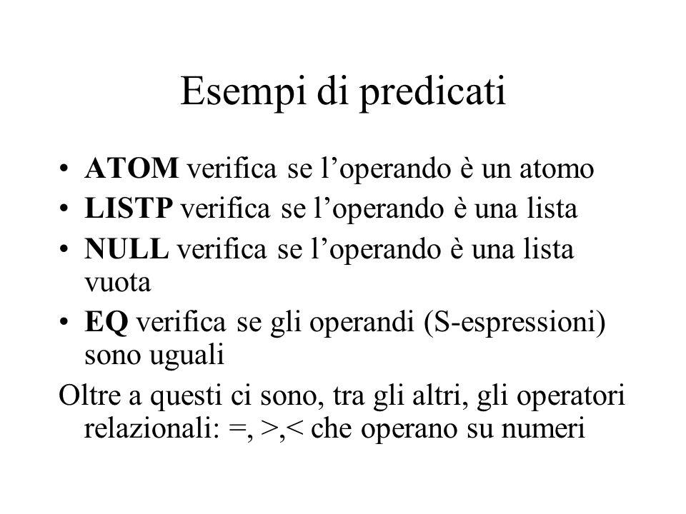 Esempi di predicati ATOM verifica se l'operando è un atomo