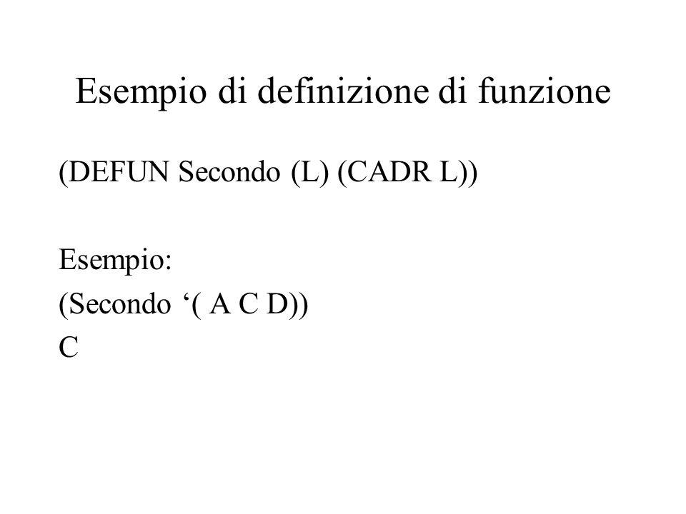 Esempio di definizione di funzione