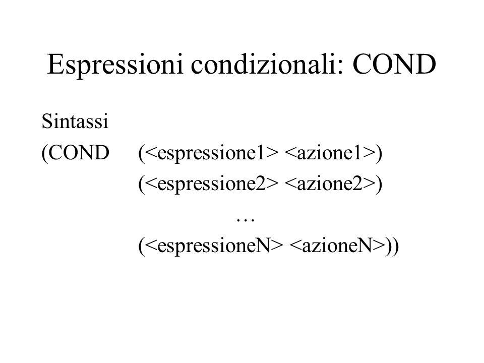 Espressioni condizionali: COND