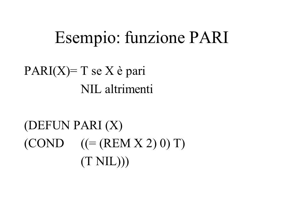 Esempio: funzione PARI