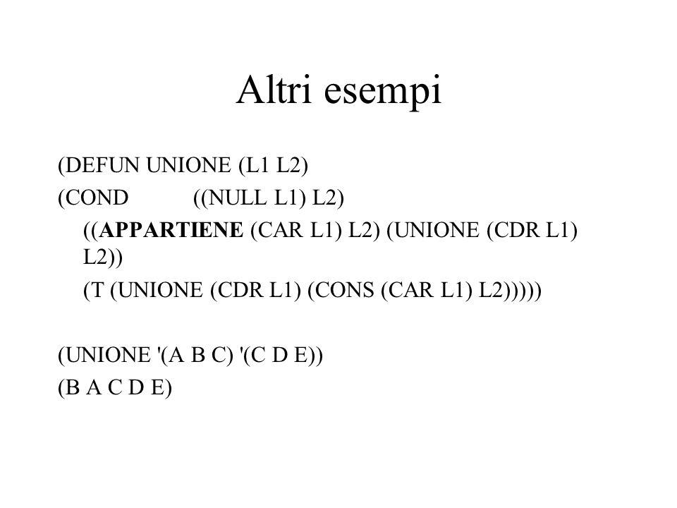 Altri esempi (DEFUN UNIONE (L1 L2) (COND ((NULL L1) L2)