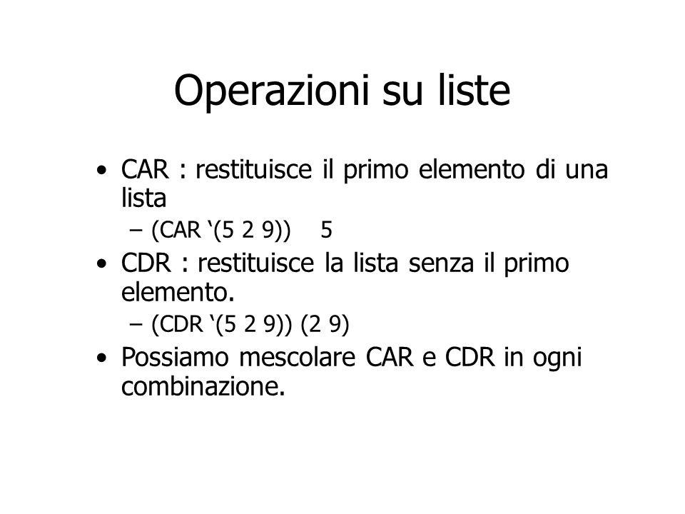 Operazioni su liste CAR : restituisce il primo elemento di una lista