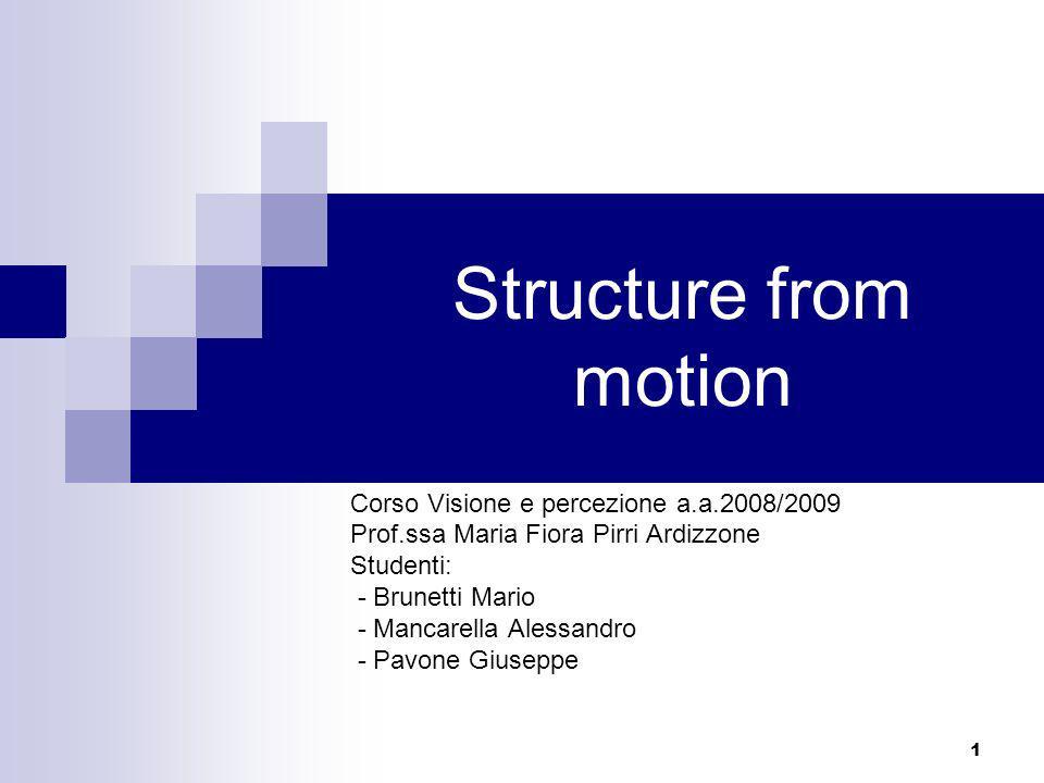 Structure from motion Corso Visione e percezione a.a.2008/2009