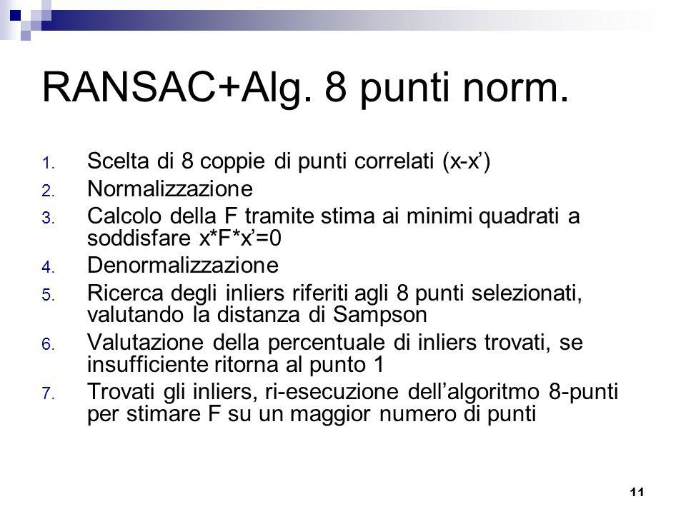 RANSAC+Alg. 8 punti norm. Scelta di 8 coppie di punti correlati (x-x')