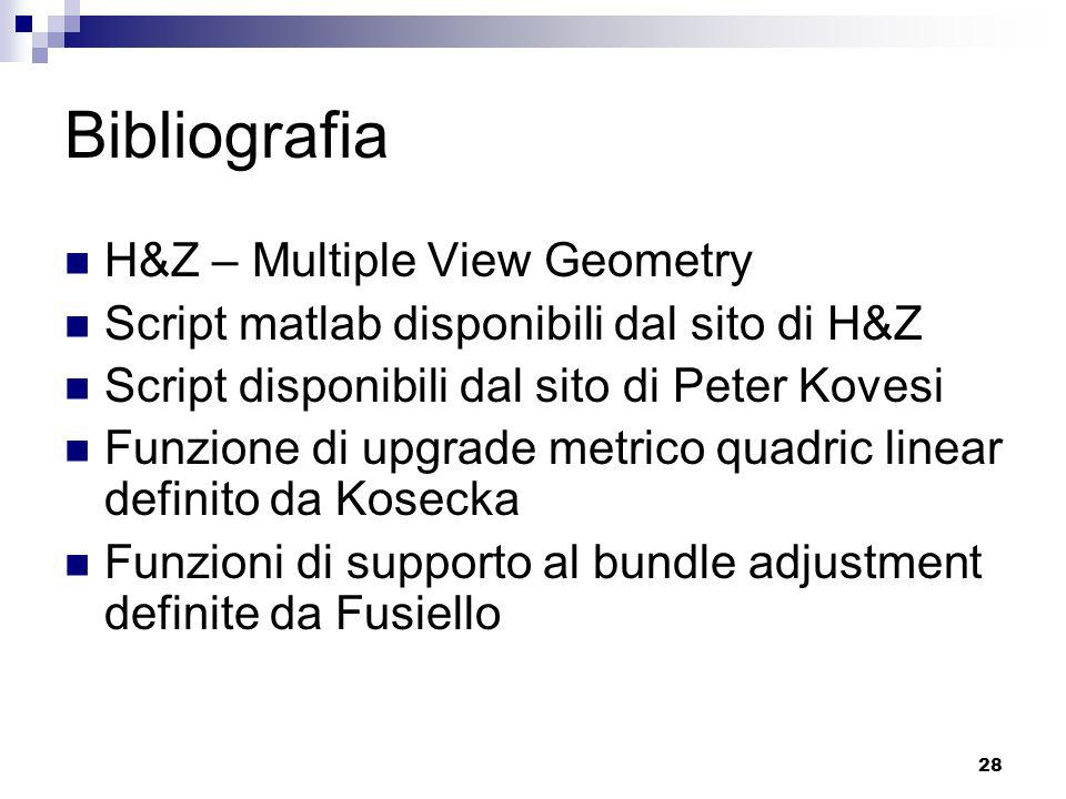 Bibliografia H&Z – Multiple View Geometry