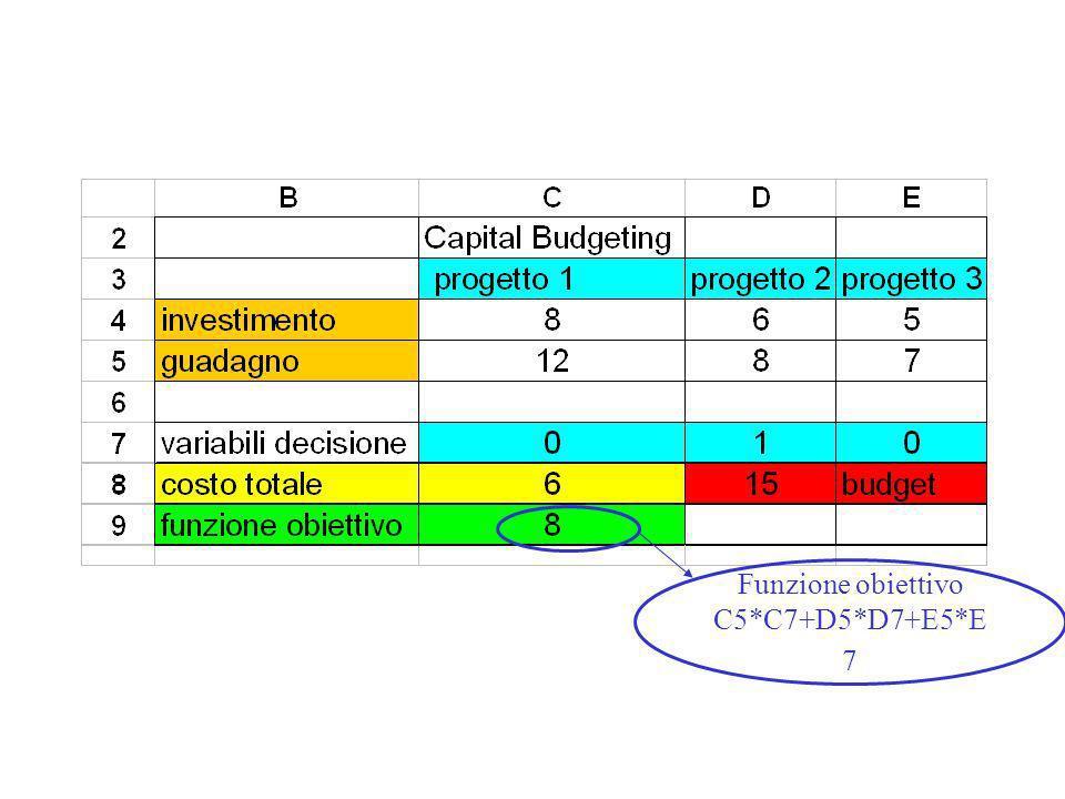 Funzione obiettivo C5*C7+D5*D7+E5*E7
