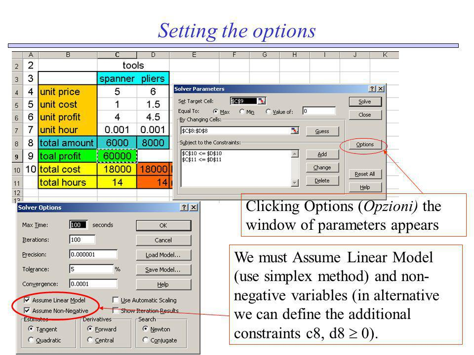 Setting the optionsClicking Options (Opzioni) the window of parameters appears.