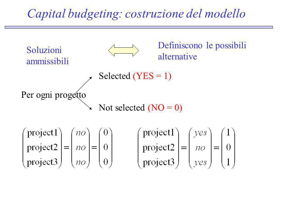 Capital budgeting: costruzione del modello
