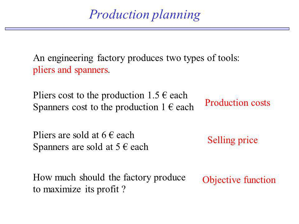 Production planningAn engineering factory produces two types of tools: pliers and spanners. Pliers cost to the production 1.5 € each.