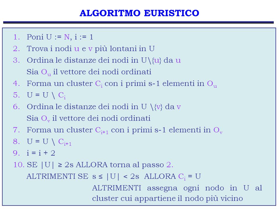 ALGORITMO EURISTICO Poni U := N, i := 1