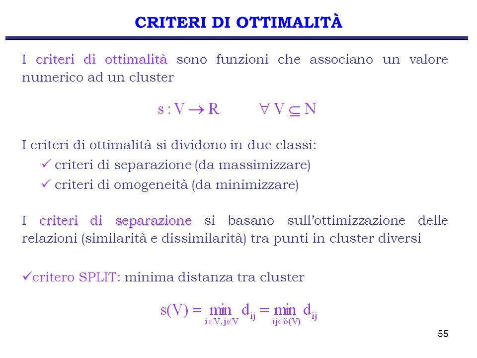 CRITERI DI OTTIMALITÀ I criteri di ottimalità sono funzioni che associano un valore numerico ad un cluster.