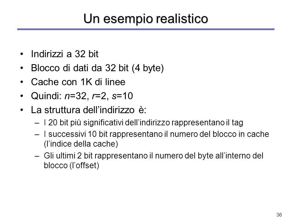 Un esempio realistico Indirizzi a 32 bit