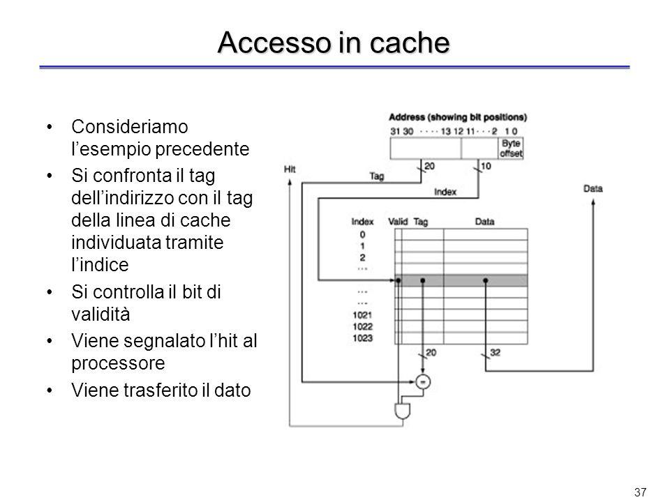 Accesso in cache Consideriamo l'esempio precedente