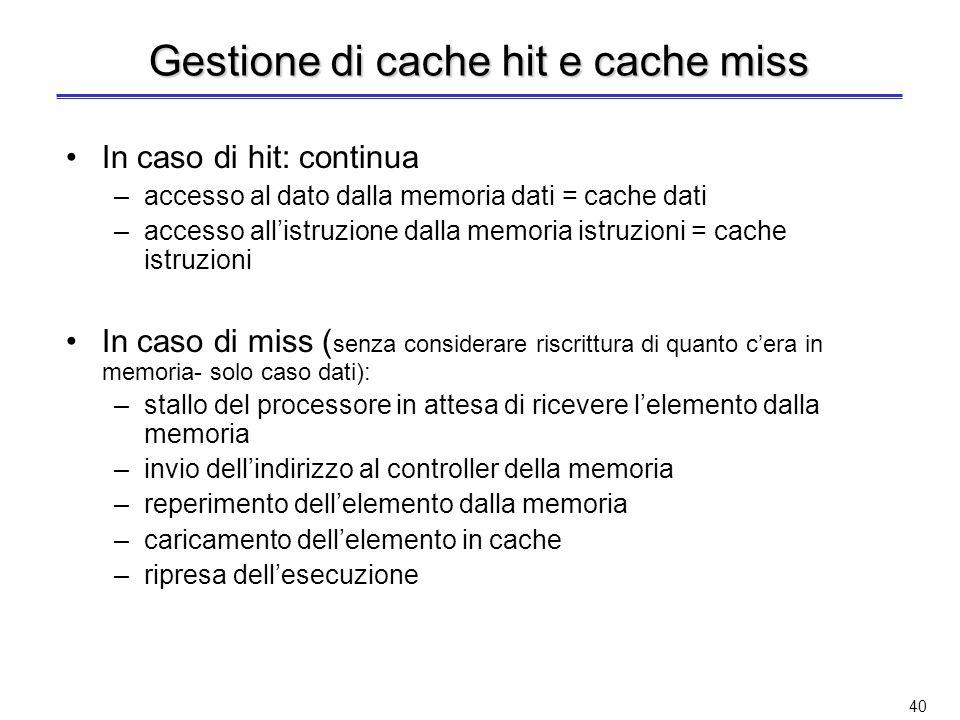 Gestione di cache hit e cache miss