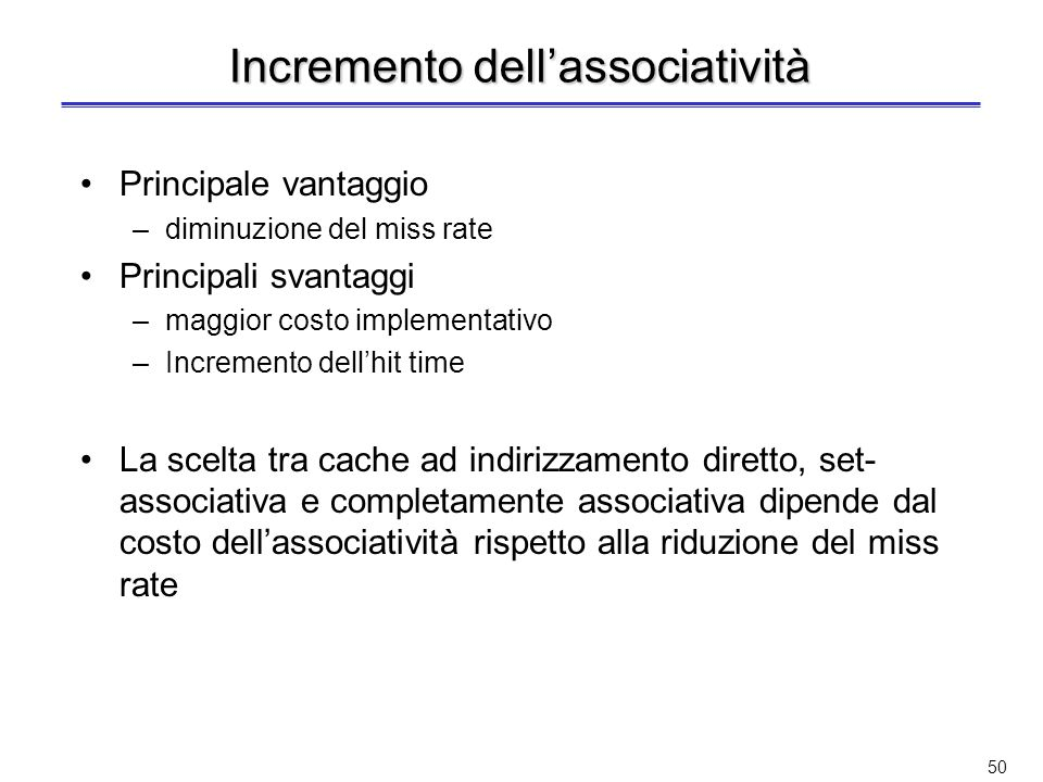 Incremento dell'associatività