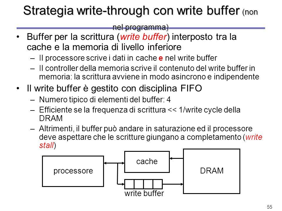 Strategia write-through con write buffer (non nel programma)
