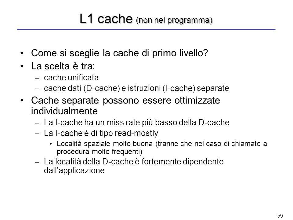L1 cache (non nel programma)