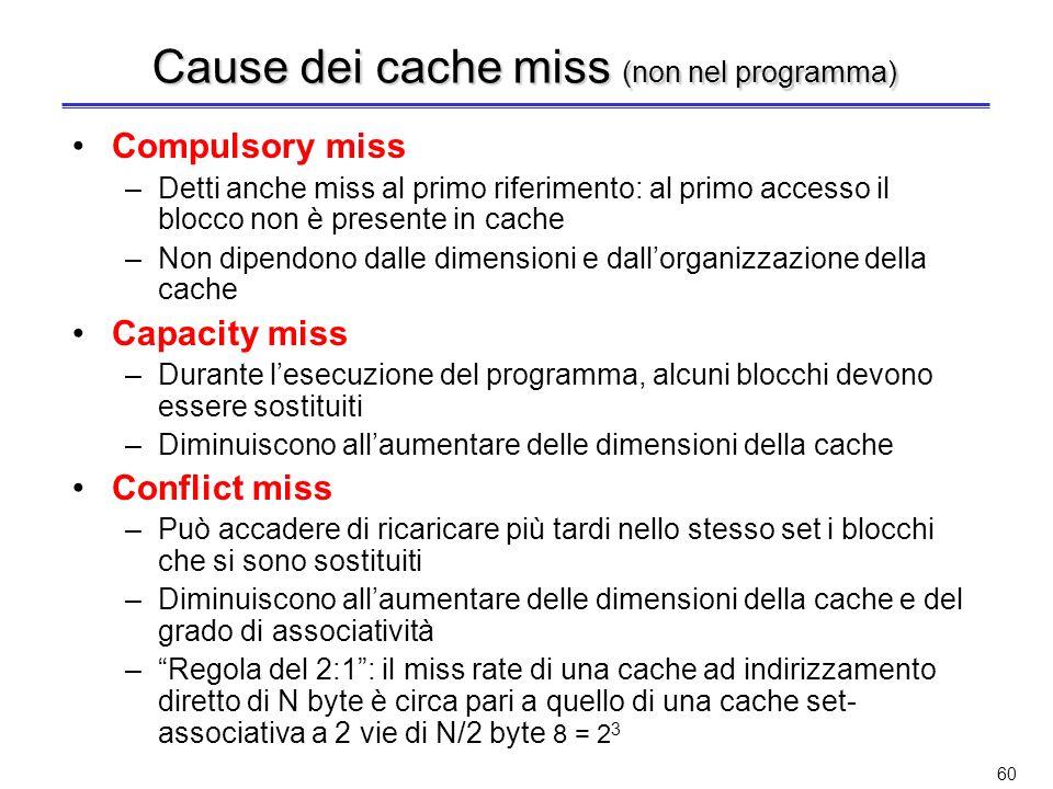 Cause dei cache miss (non nel programma)