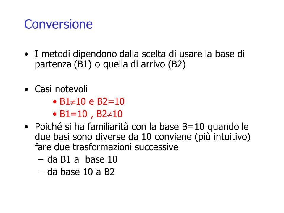 Conversione I metodi dipendono dalla scelta di usare la base di partenza (B1) o quella di arrivo (B2)